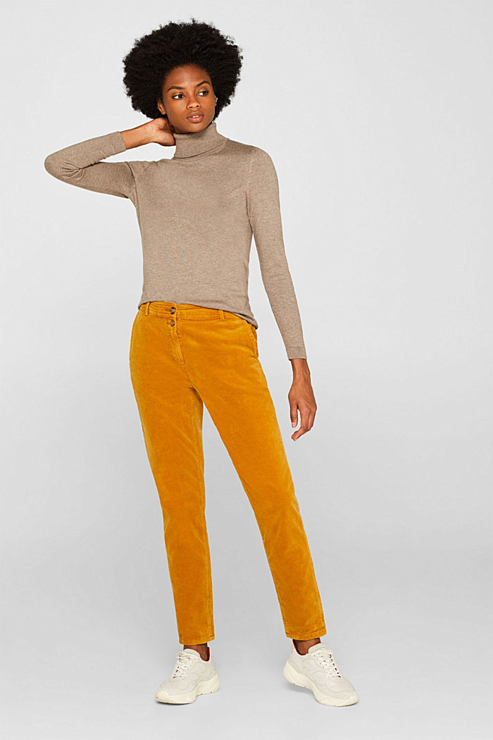 Stretch cord chinos, AMBER YELLOW, detail image number 0