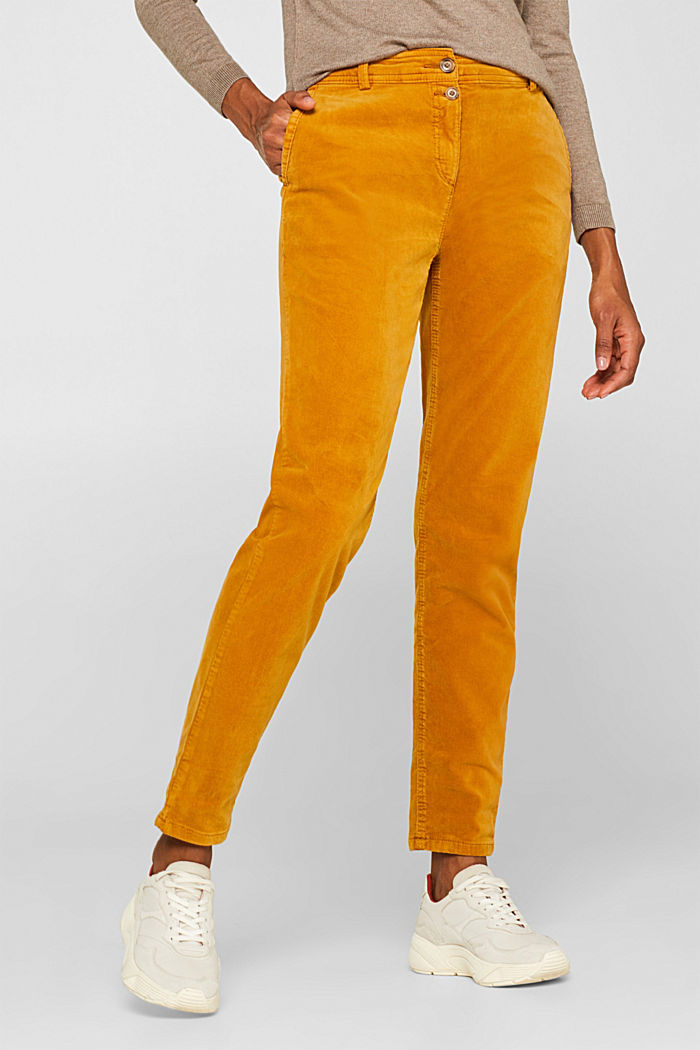 Stretch cord chinos, AMBER YELLOW, detail image number 6