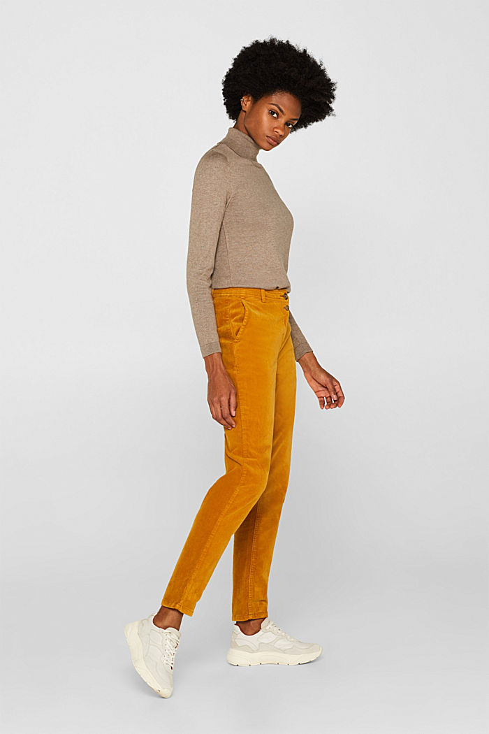 Stretch cord chinos, AMBER YELLOW, detail image number 1