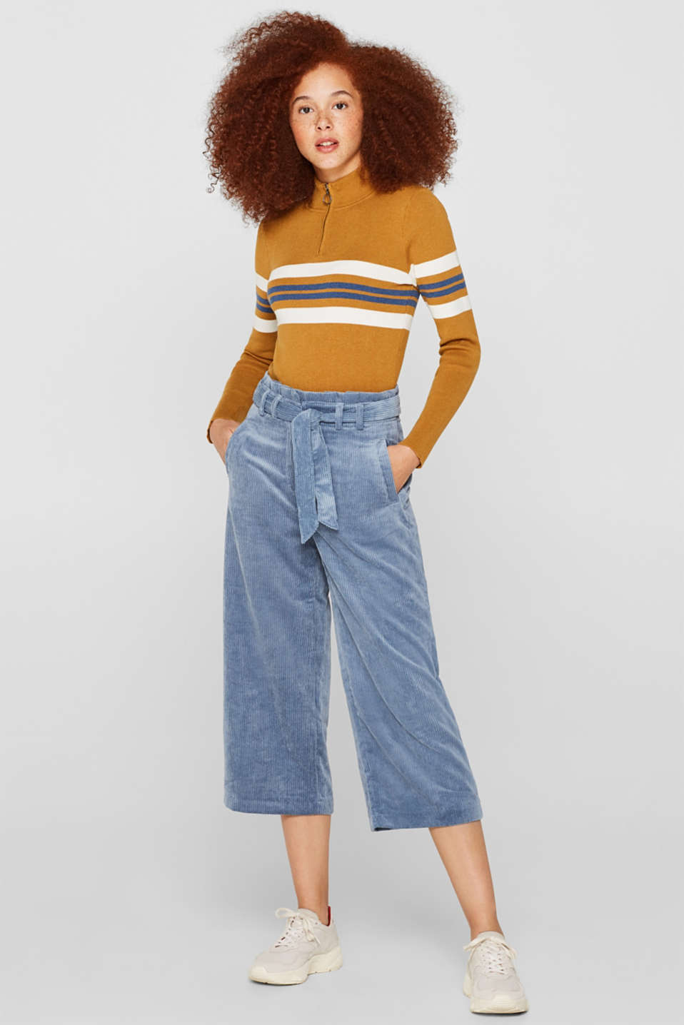 edc - Corduroy culottes with a paper-bag waistband
