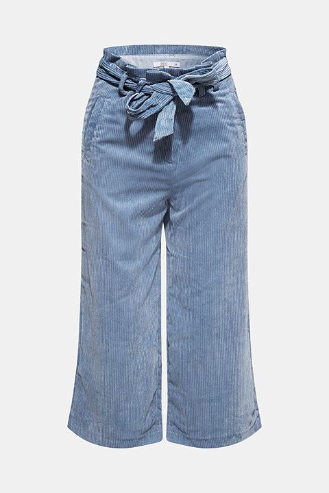Corduroy culottes with a paper-bag waistband