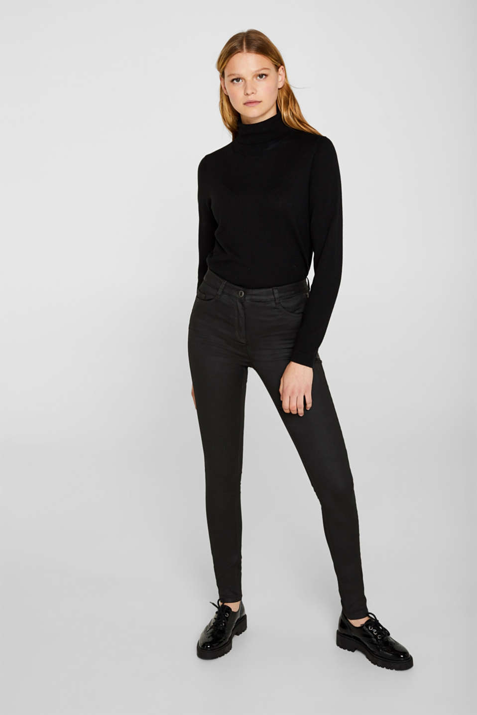 edc - Pantalon stretch enduit, orné d'un zip
