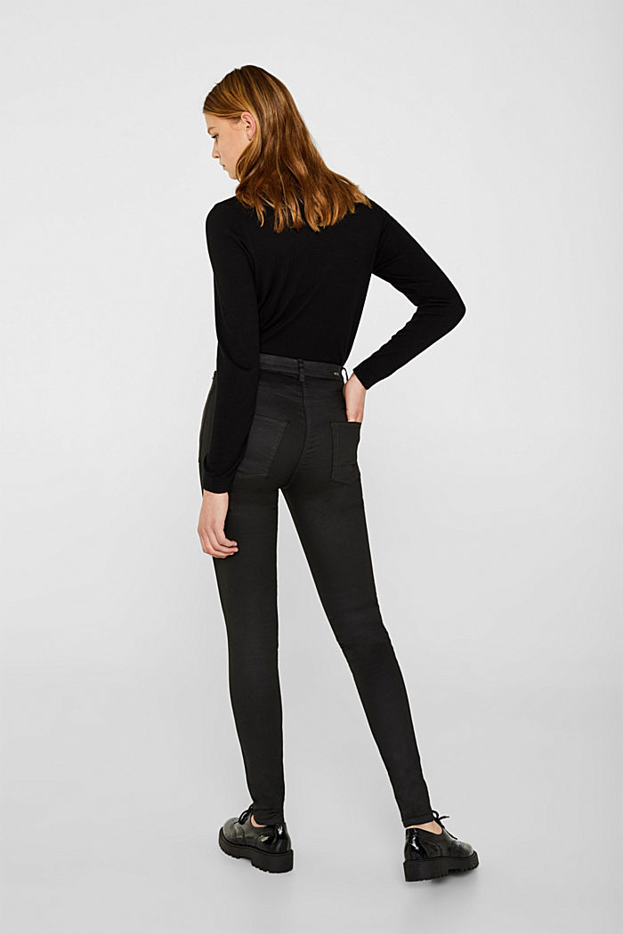 Coated stretch trousers with zips, BLACK, detail image number 2