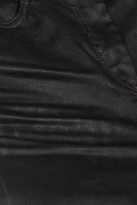 Coated stretch trousers with zips