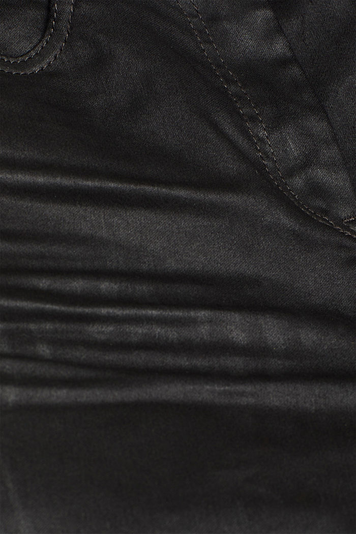 Coated stretch trousers with zips, BLACK, detail image number 3