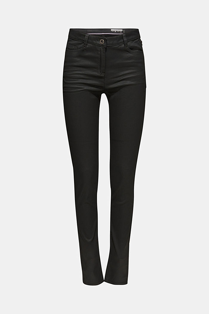 Coated Stretch-Pants mit Zipper