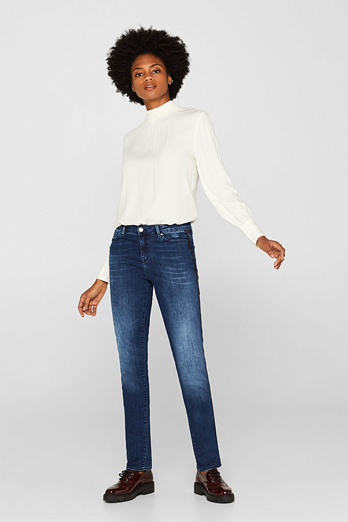 Stretch jeans with denim stripes