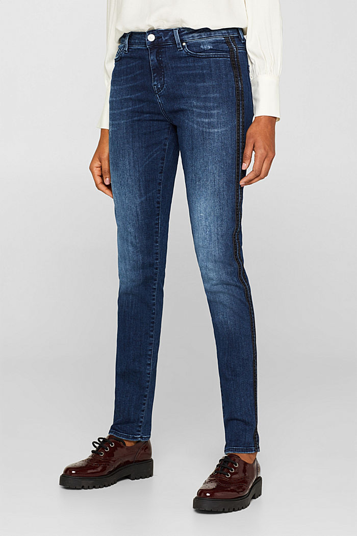Stretch jeans with denim stripes, BLUE MEDIUM WASHED, detail image number 6