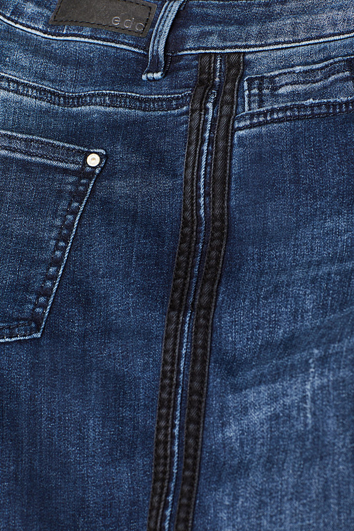 Stretch jeans with denim stripes, BLUE MEDIUM WASHED, detail image number 4