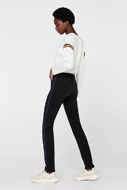 Stretch jeans with tuxedo stripes
