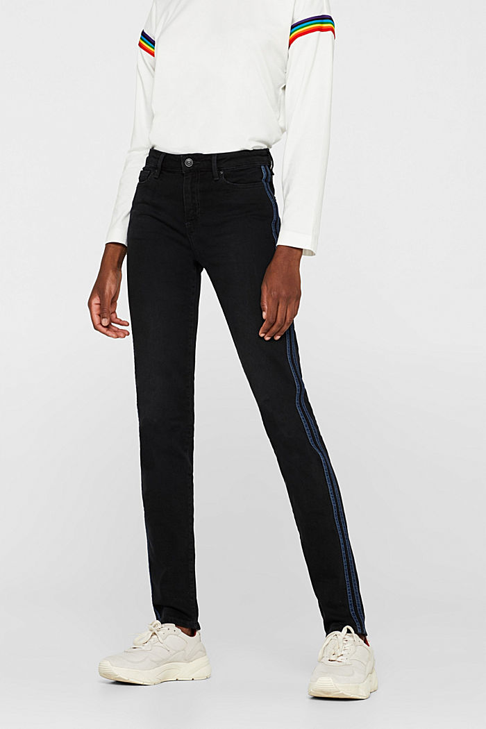 Stretch jeans with tuxedo stripes, BLACK RINSE, detail image number 6