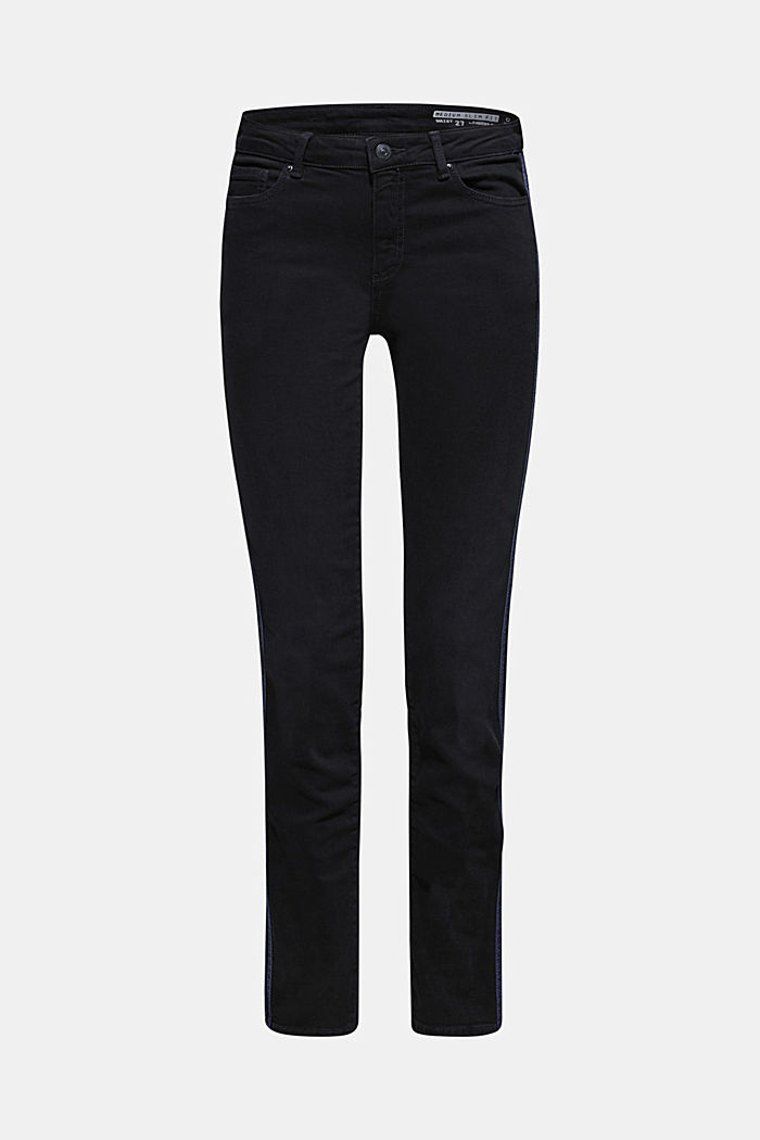 Stretch jeans with tuxedo stripes