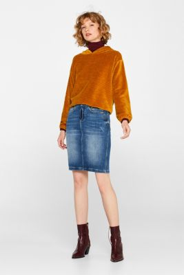 Stretch denim skirt in a vintage look, BLUE MEDIUM WASH, detail