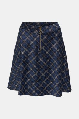 Swirling skirt with a zip, NAVY, detail