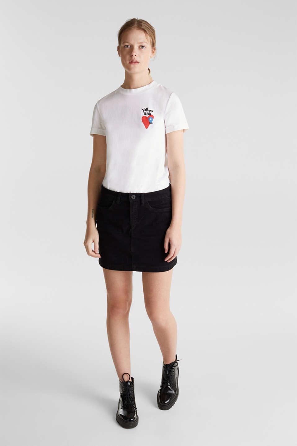 Stretch corduroy mini skirt, BLACK, detail image number 1