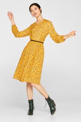 Midi skirt with a jersey waistband, HONEY YELLOW, detail