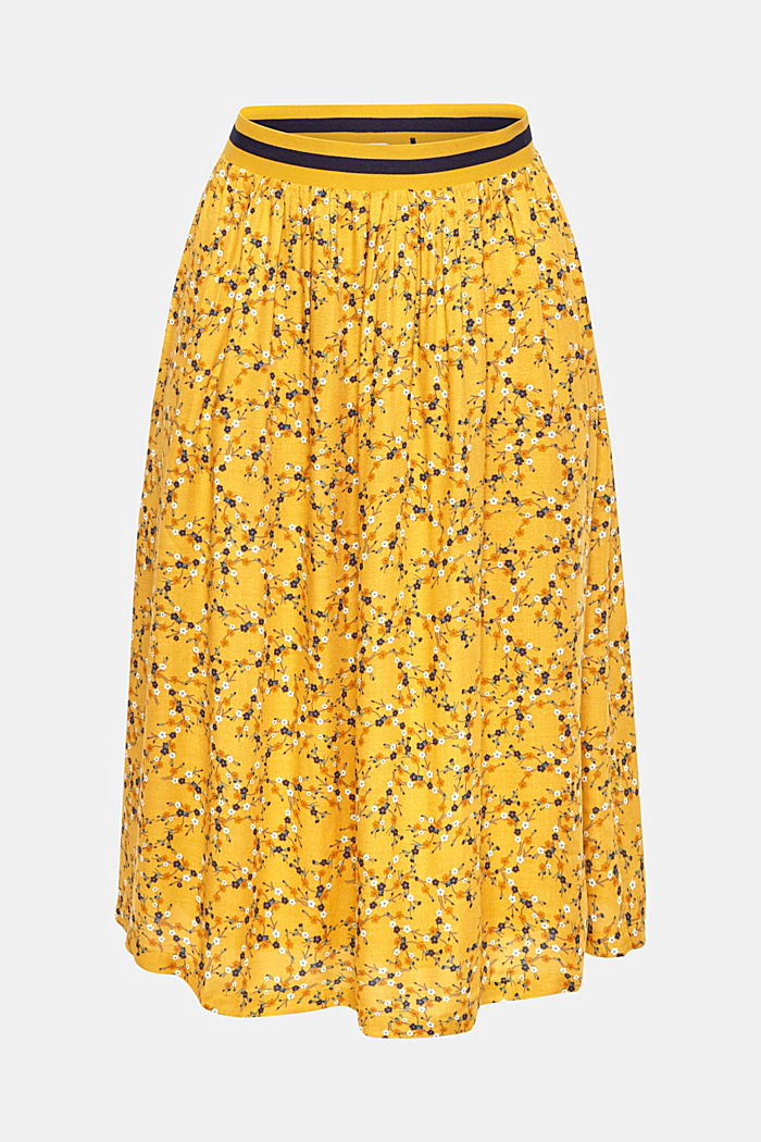 Midi skirt with a jersey waistband