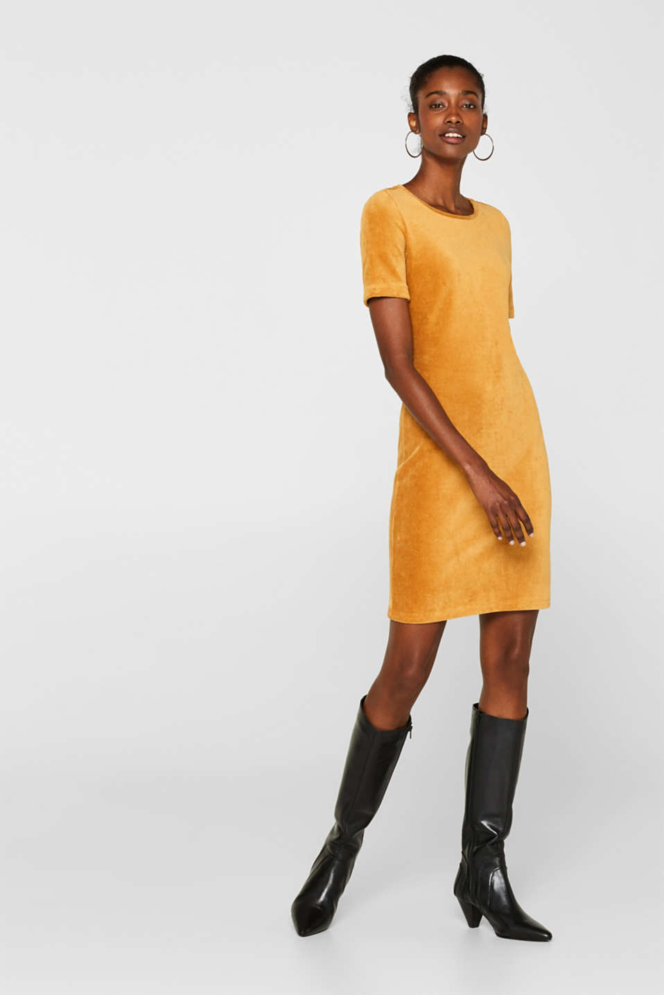 Jersey cord sheath dress, AMBER YELLOW, detail image number 0