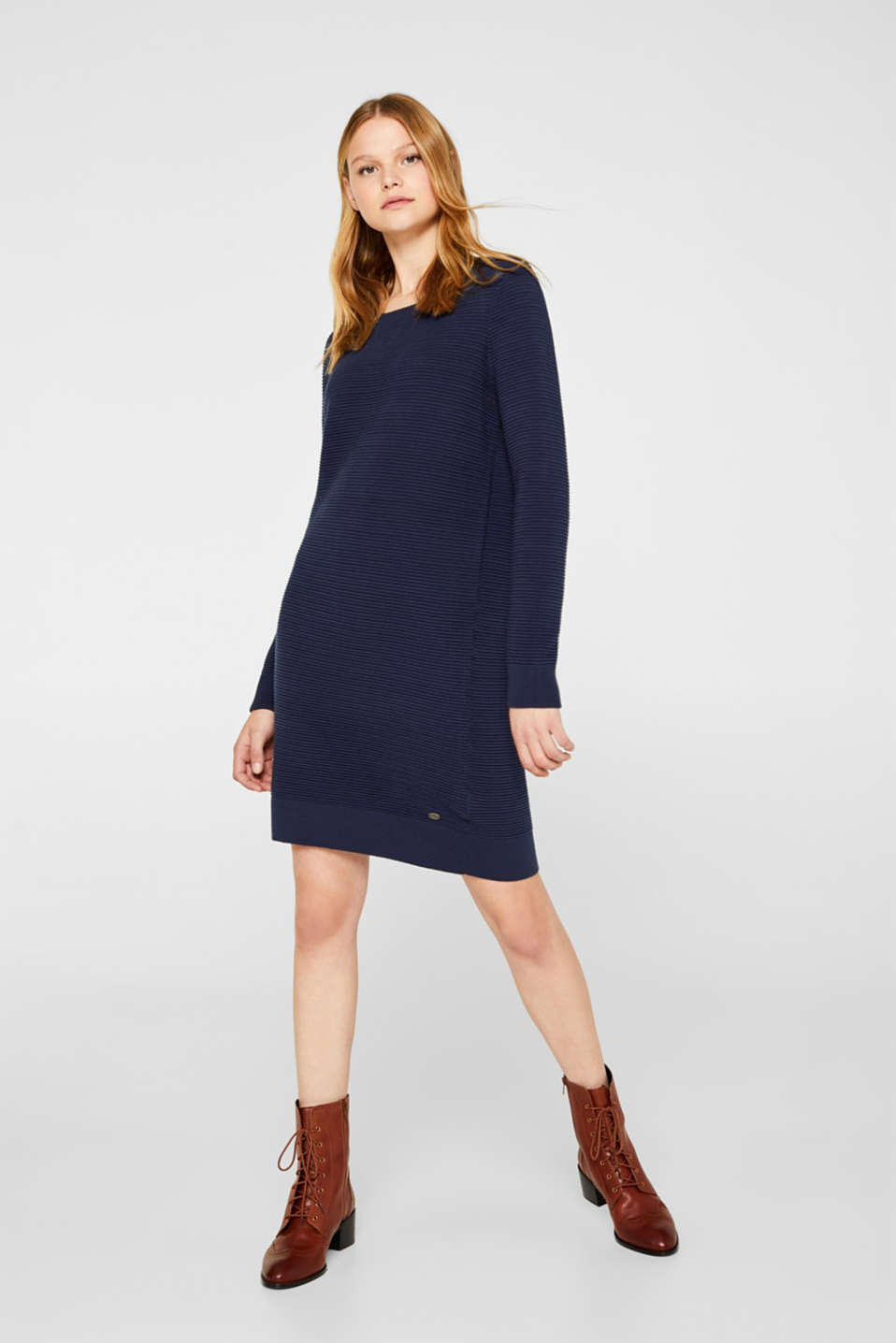Knit dress with a ribbed texture, NAVY 2, detail image number 1