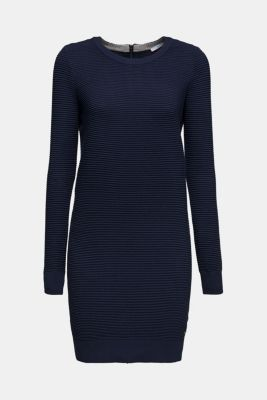 Knit dress with a ribbed texture, NAVY 2, detail