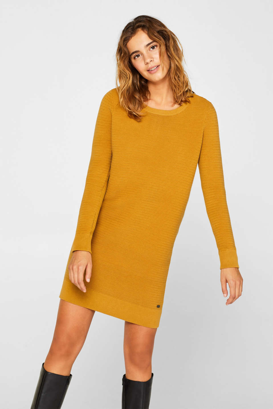 Knit dress with a ribbed texture, AMBER YELLOW, detail image number 0