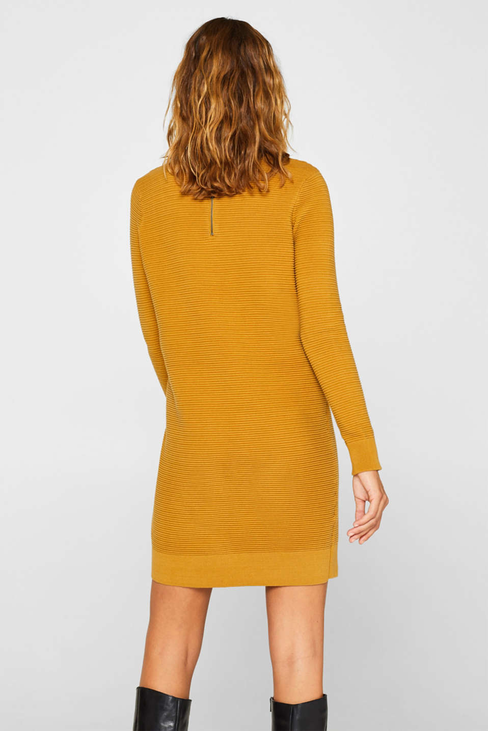Knit dress with a ribbed texture, AMBER YELLOW, detail image number 2