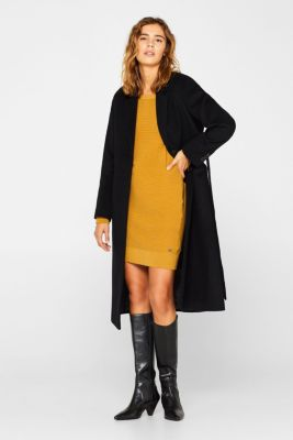 Knit dress with a ribbed texture, AMBER YELLOW, detail