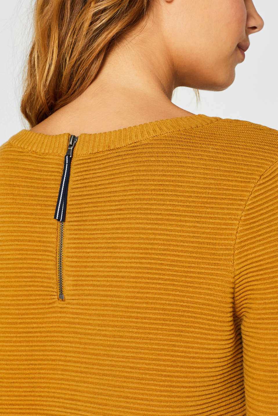 Knit dress with a ribbed texture, AMBER YELLOW, detail image number 3