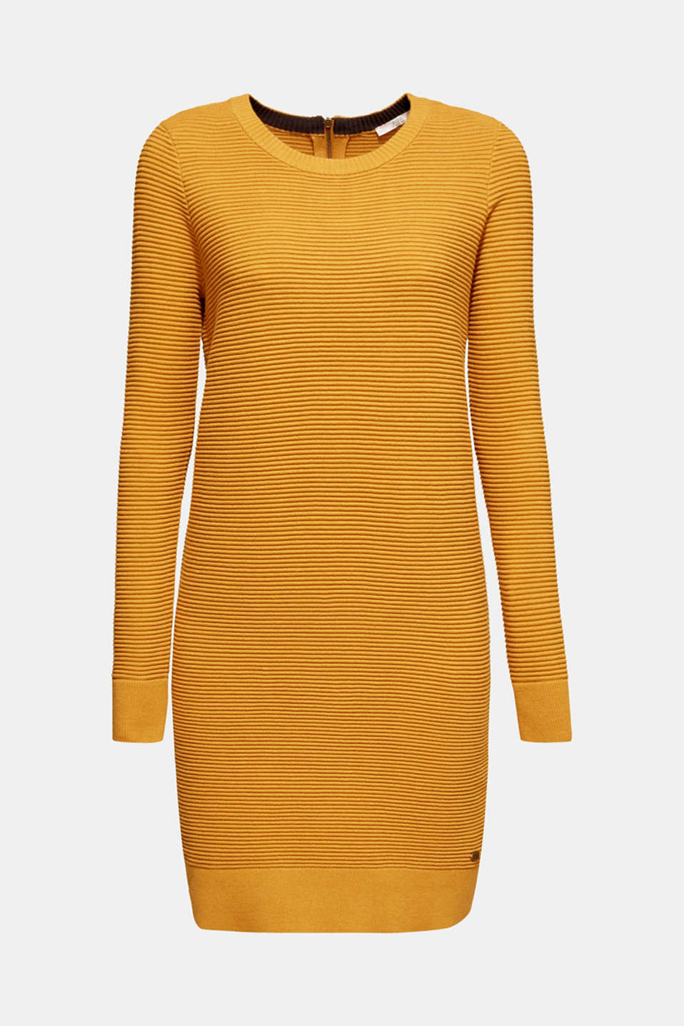 Knit dress with a ribbed texture, AMBER YELLOW, detail image number 5