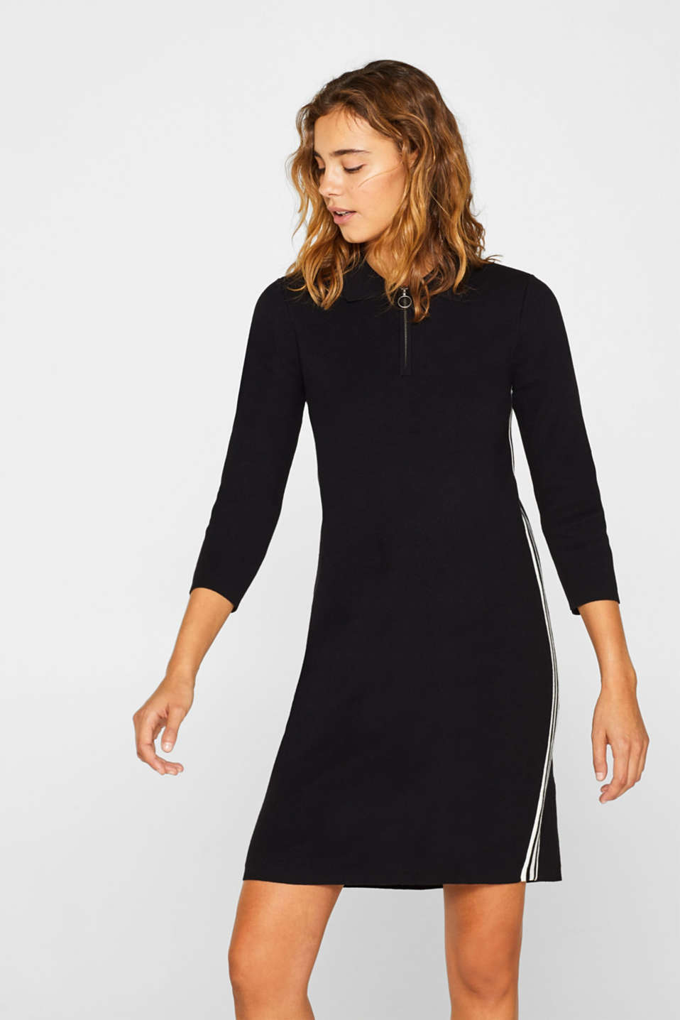 Polo knit dress with racing stripes, BLACK 2, detail image number 0