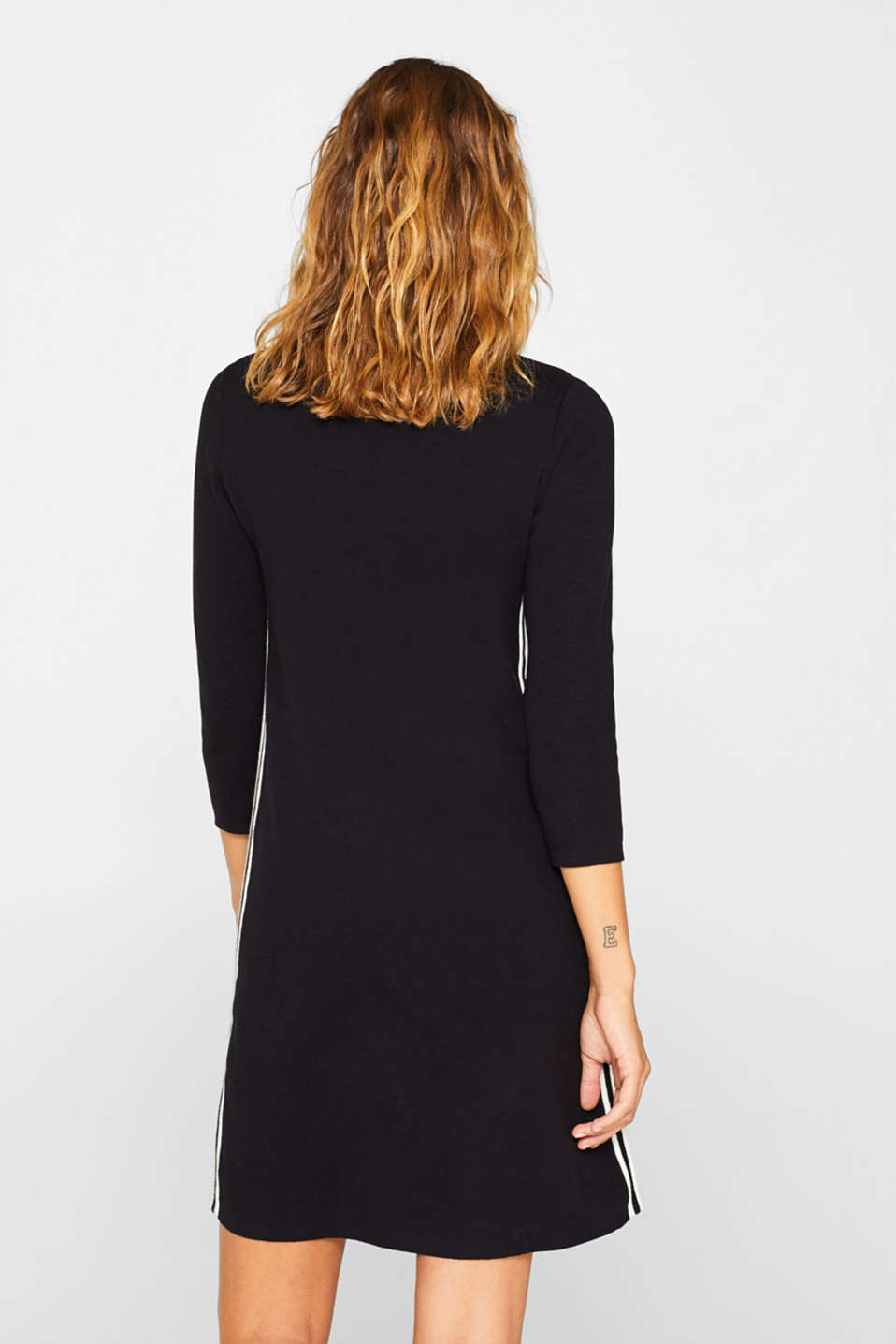 Polo knit dress with racing stripes, BLACK 2, detail image number 2