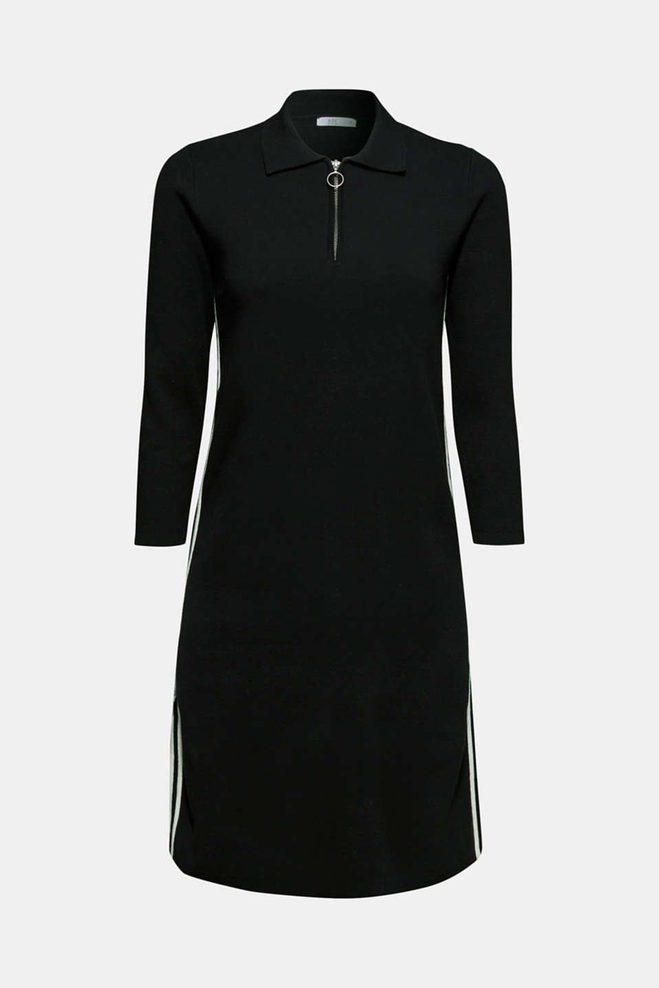 Polo knit dress with racing stripes, BLACK 2, detail image number 6