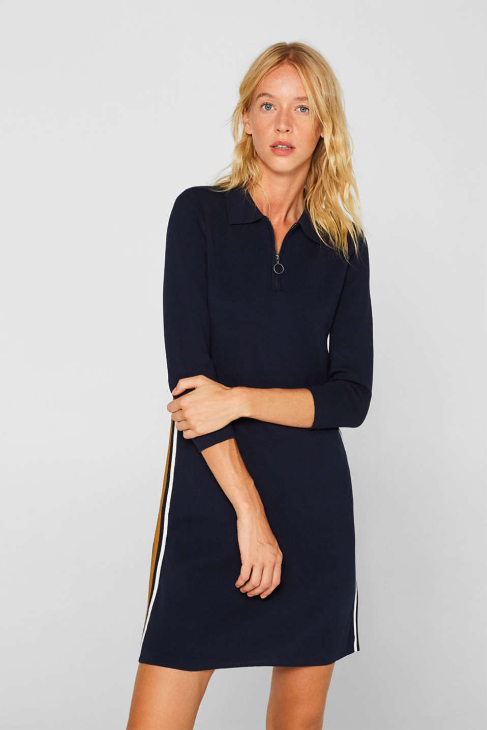 edc - Polo knit dress with racing stripes