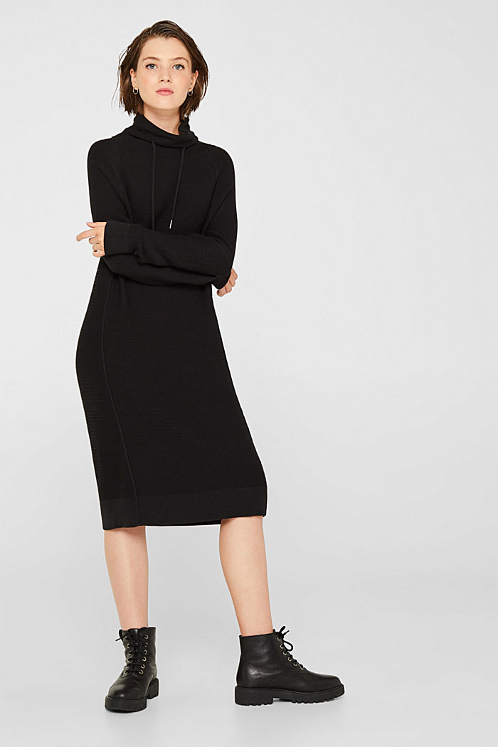 Knitted dress with drawstring collar, BLACK, detail image number 0