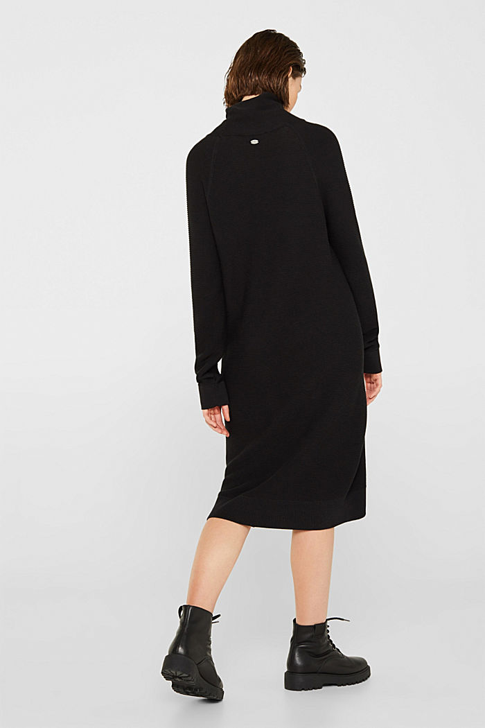 Knitted dress with drawstring collar, BLACK, detail image number 2