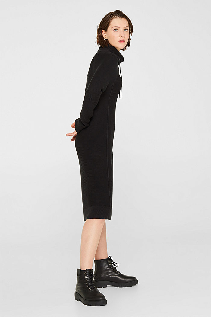 Knitted dress with drawstring collar, BLACK, detail image number 1