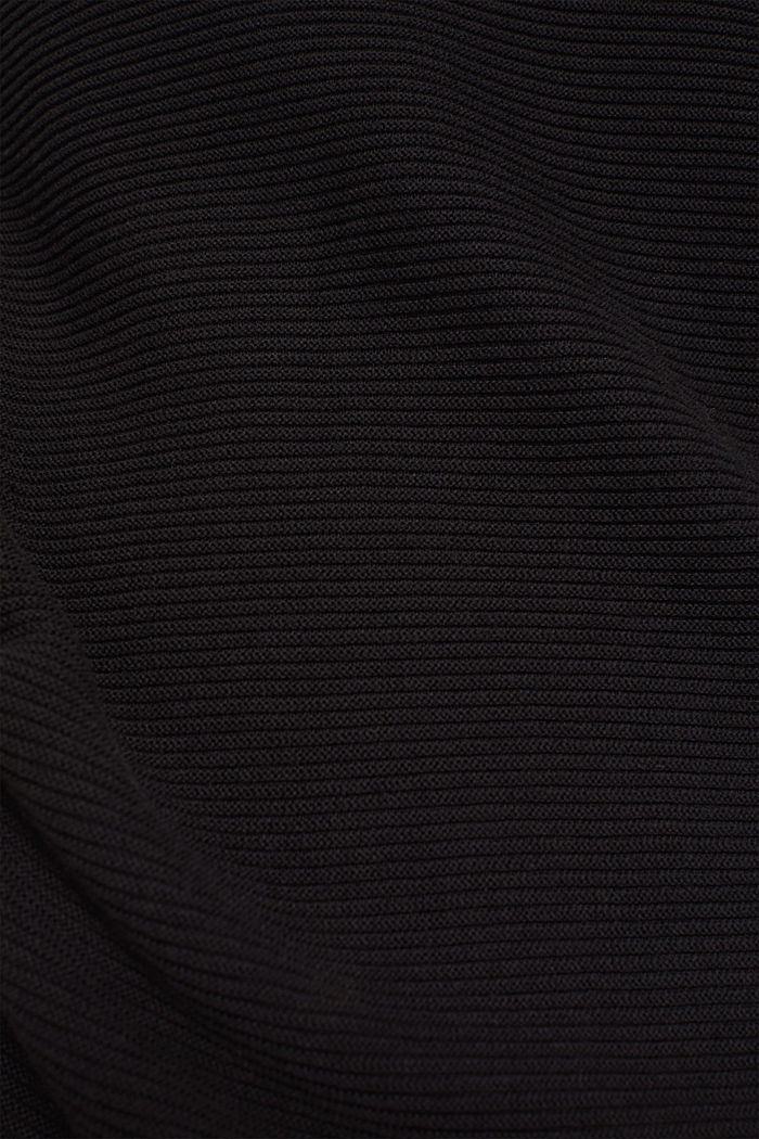 Knitted dress with drawstring collar, BLACK, detail image number 4