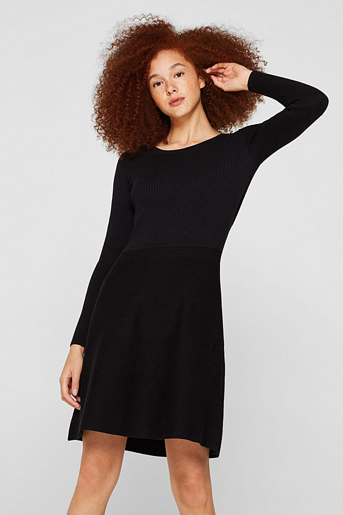 Knit dress with a ribbed texture, BLACK, detail image number 0