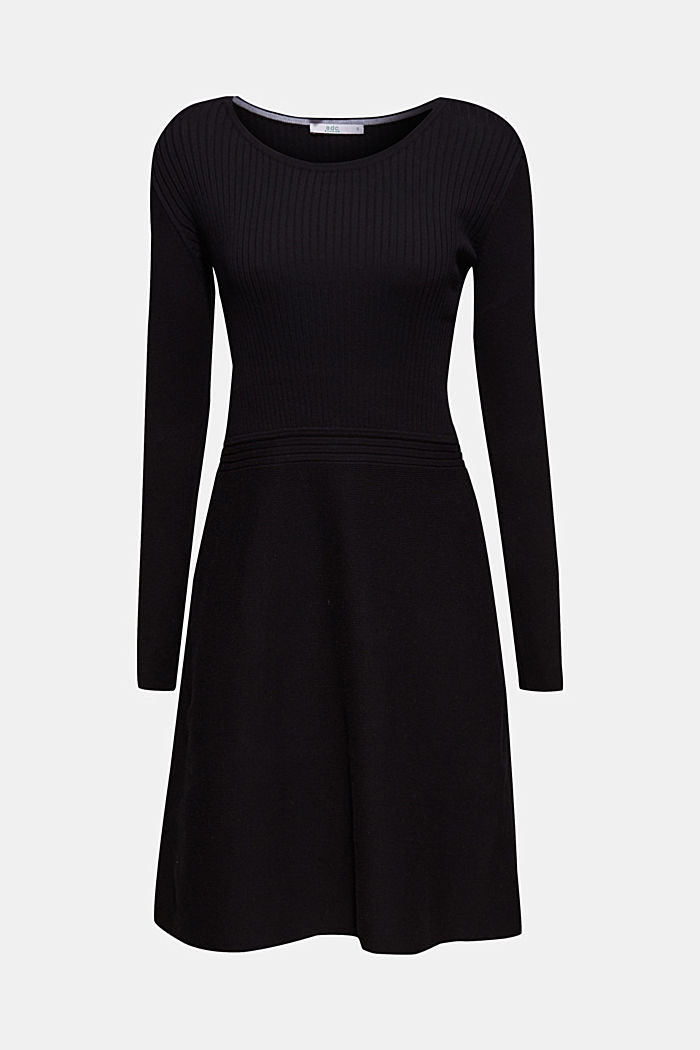 Knit dress with a ribbed texture, BLACK, detail image number 6