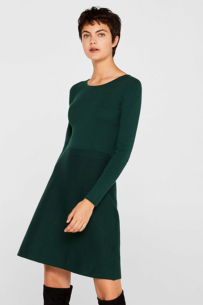 Knit dress with a ribbed texture, BOTTLE GREEN, detail image number 0