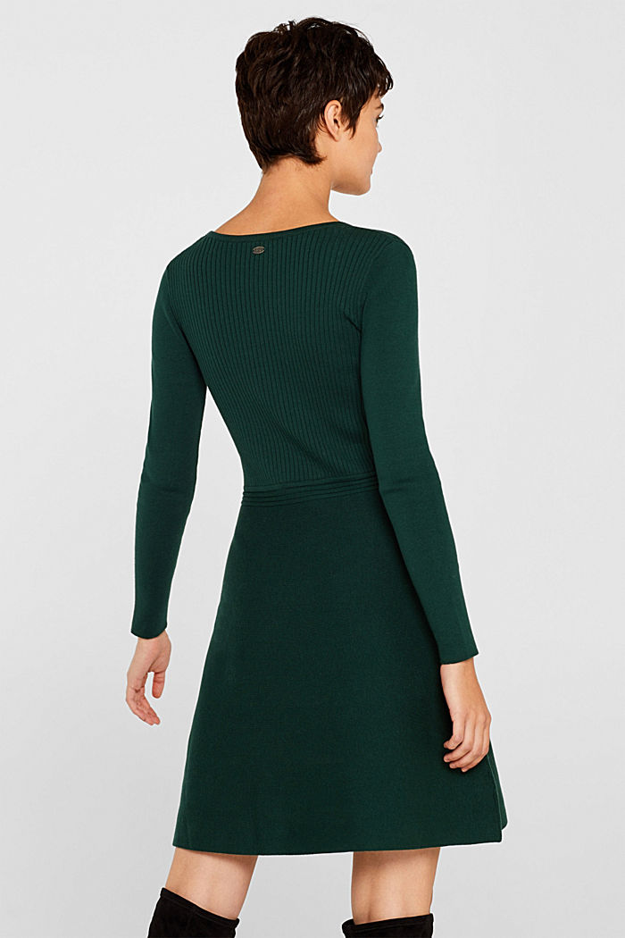 Knit dress with a ribbed texture, BOTTLE GREEN, detail image number 2