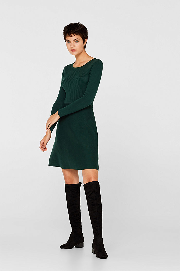 Knit dress with a ribbed texture, BOTTLE GREEN, detail image number 5