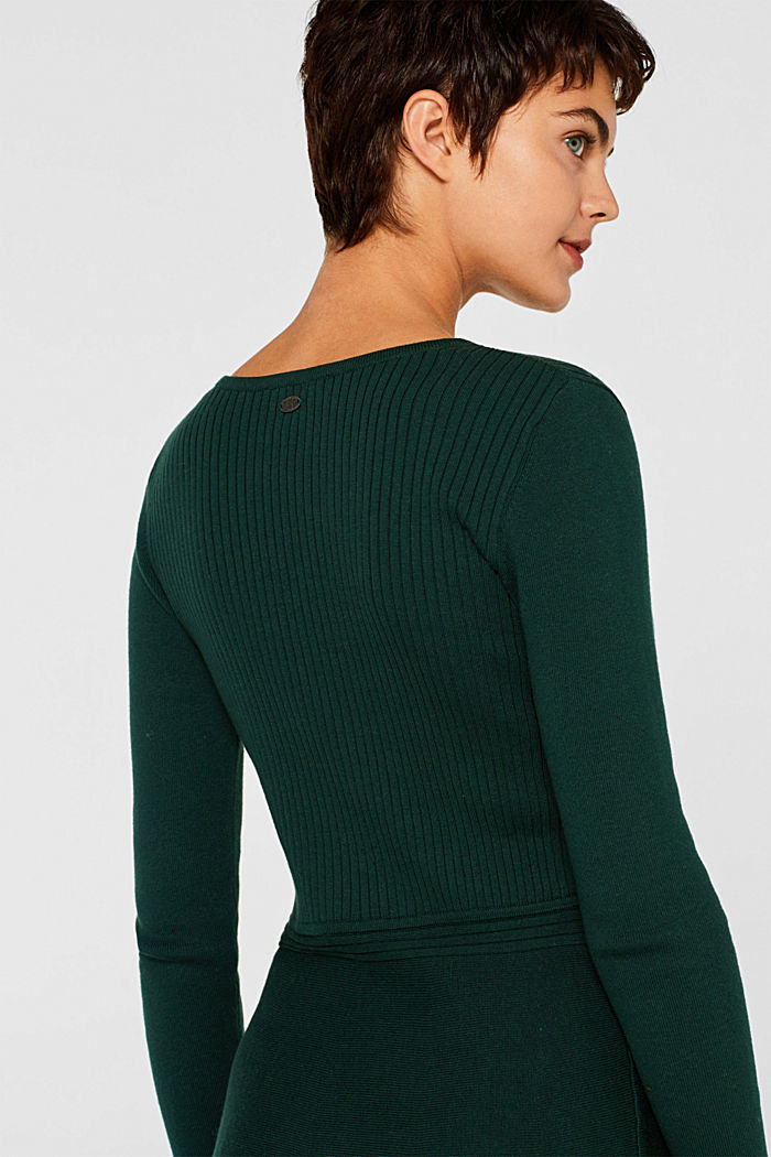 Knit dress with a ribbed texture, BOTTLE GREEN, detail image number 3