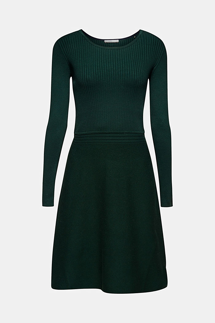 Knit dress with a ribbed texture, BOTTLE GREEN, detail image number 6