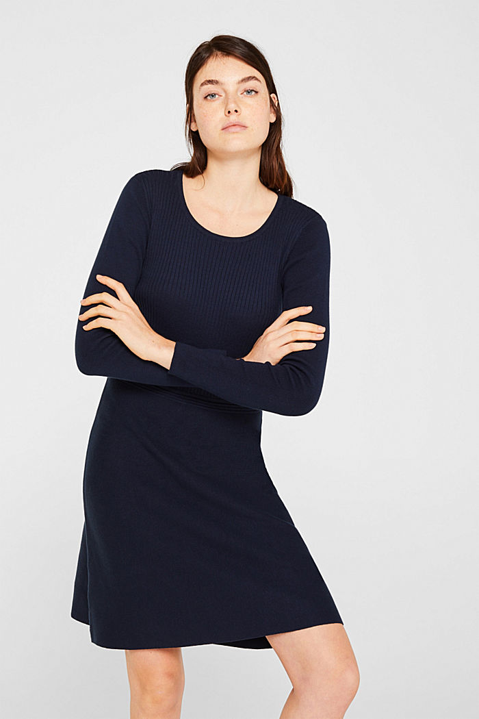 Knit dress with a ribbed texture, NAVY, detail image number 0