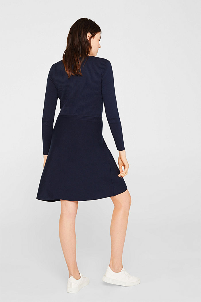 Knit dress with a ribbed texture, NAVY, detail image number 2