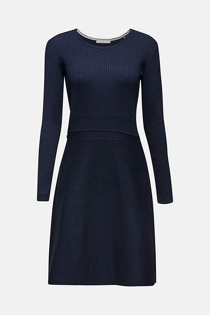 Knit dress with a ribbed texture, NAVY, detail image number 6