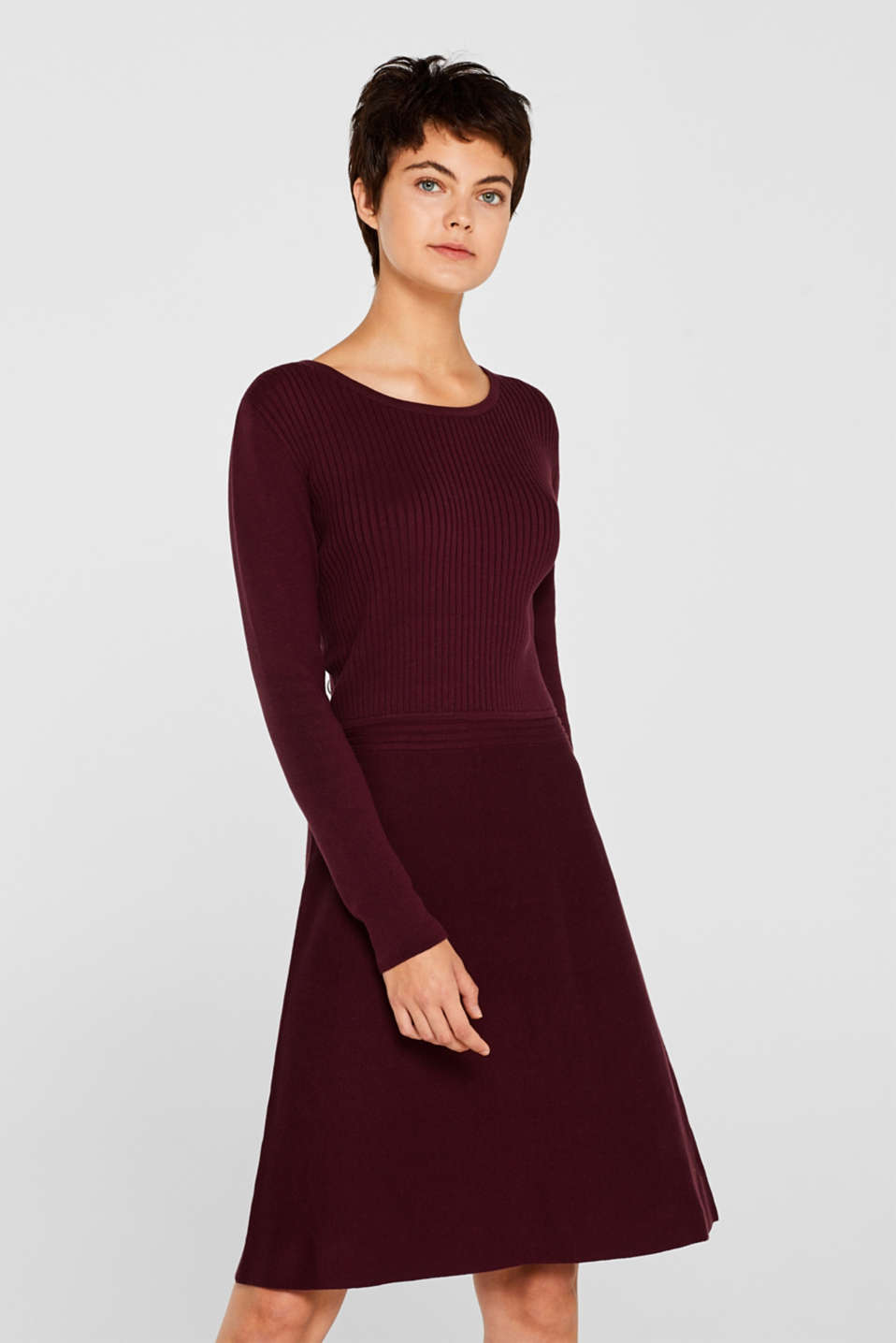 Knit dress with a ribbed texture, BORDEAUX RED, detail image number 0