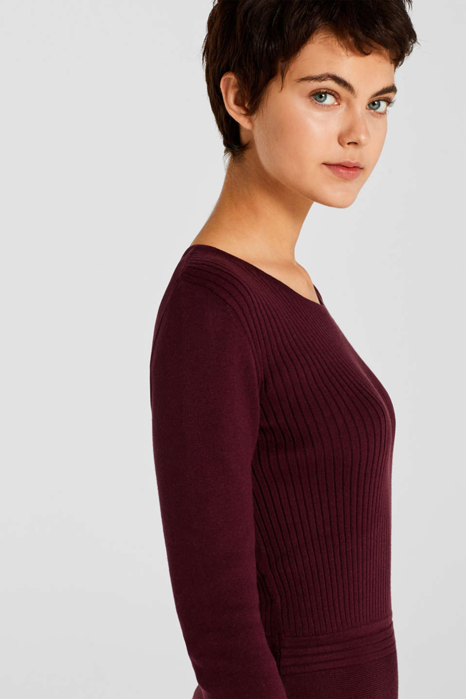 Knit dress with a ribbed texture, BORDEAUX RED, detail image number 5