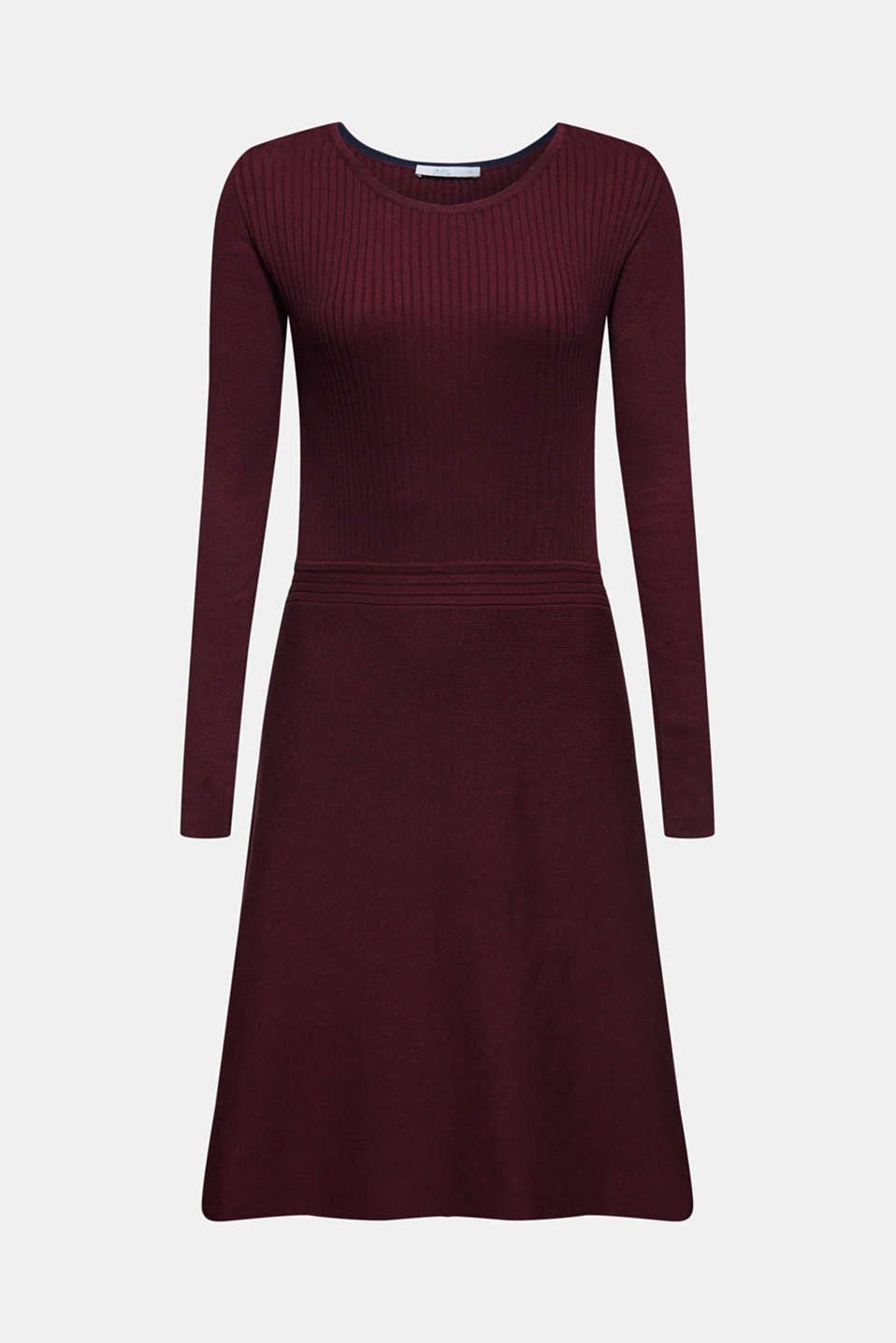 Knit dress with a ribbed texture, BORDEAUX RED, detail image number 6